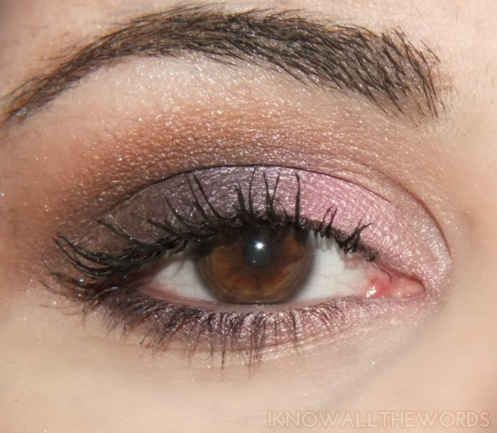 REVLON shadowlinks eyeshadows oyster, candy, java and eggplant on eyes