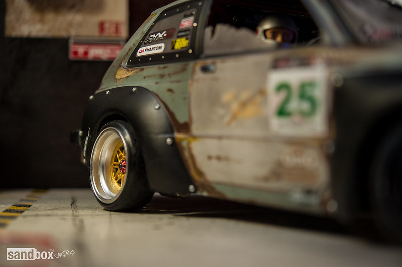 Dubdrift Toyota STARLET KP61 RC Drift Rusty Effect on sandbox speedhunters drift garage 14182011770_7b721dda4f_c