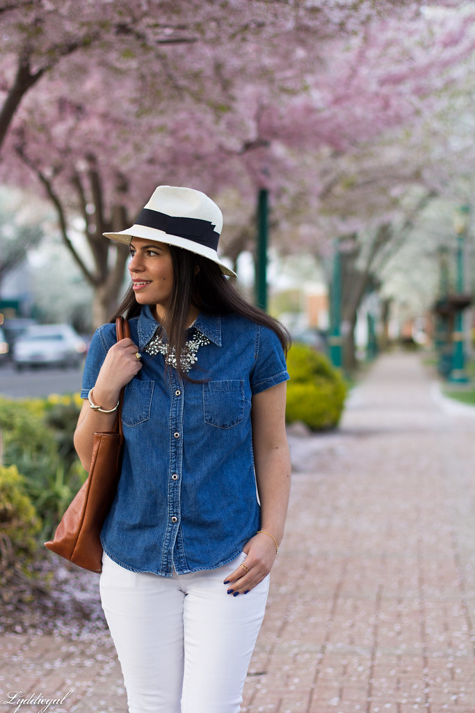 white jeans, chambray shirt, panama hat-3.jpg