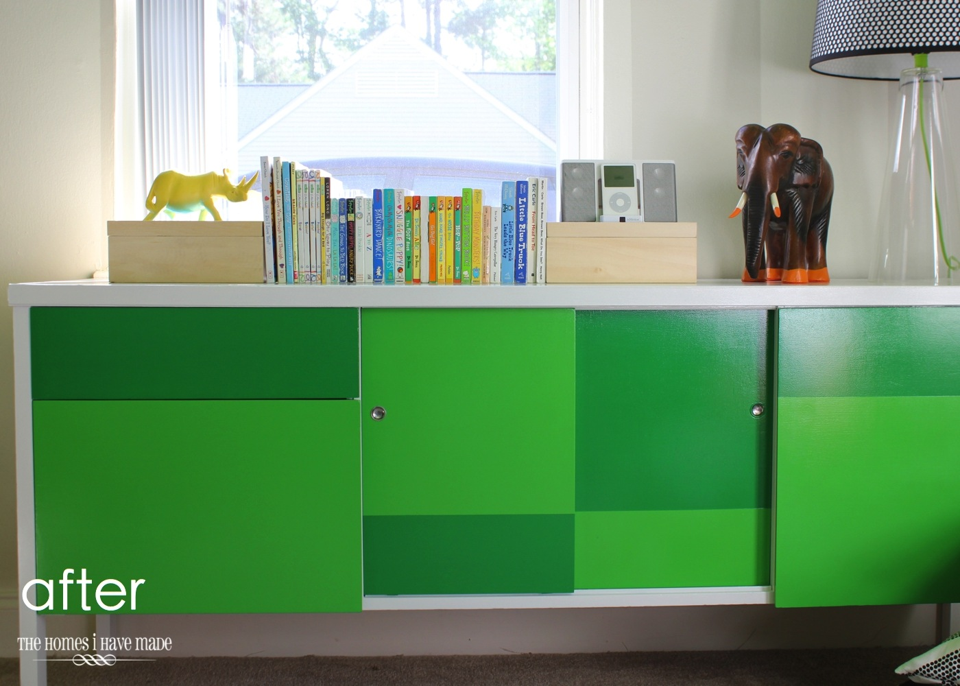 Green Color Block Credenza-006