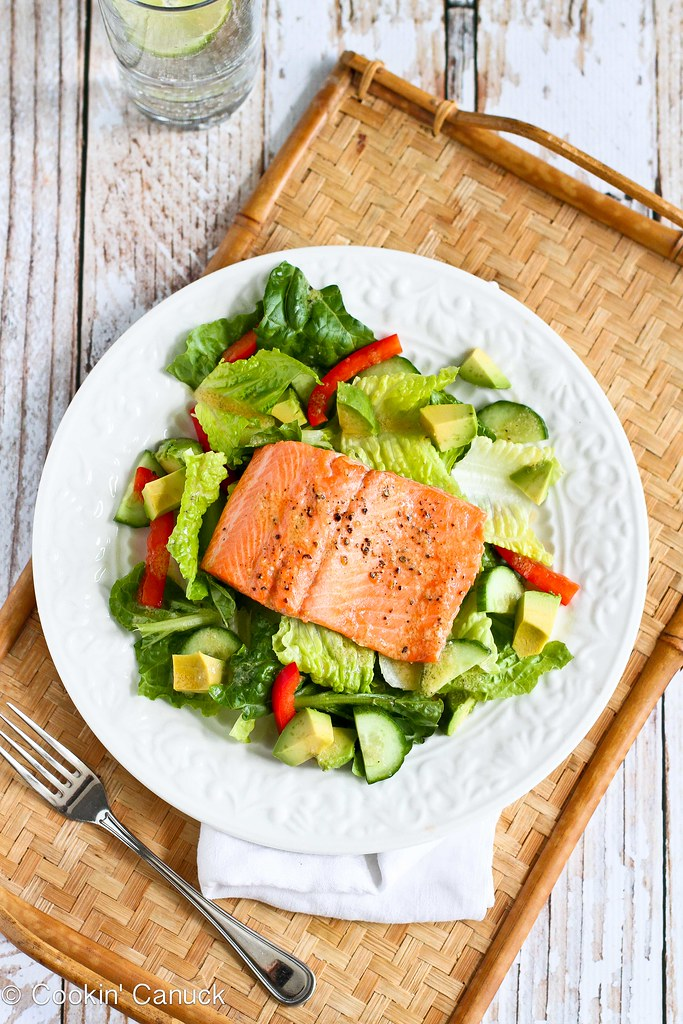 Salmon and Avocado Salad Recipe with Miso Lime Dressing...278 calories and 8 Weight Watchers PP