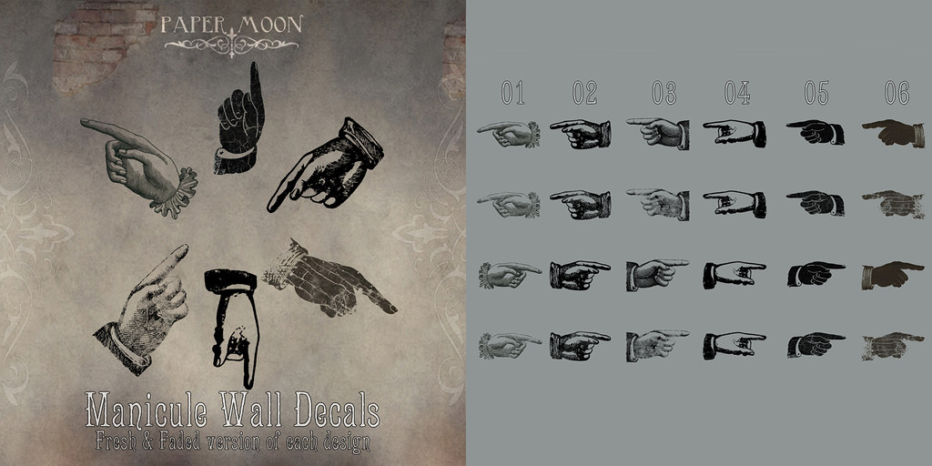 *pm* Manicule Wall Decals - SecondLifeHub.com