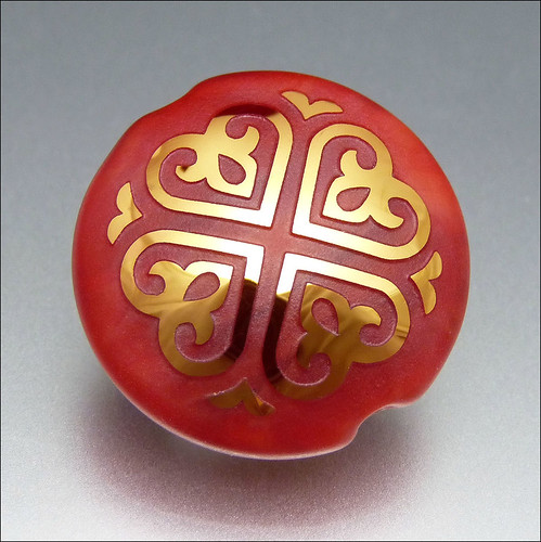 Red and Gold Sandblasted Lampwork Lentil Pendant Bead
