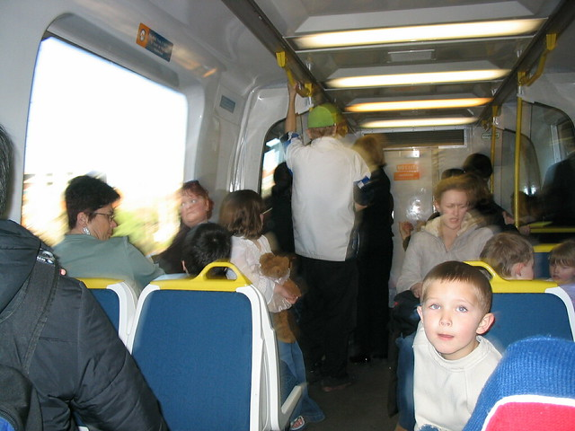 Crowded train, July 2003