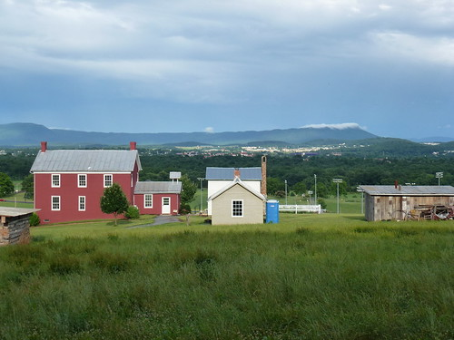 Burkholder house with Massanutten Mountain 2013 by MennoniteArchivesofVirginia