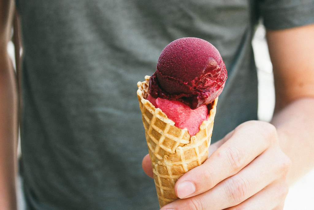 Blackberry sorbetto + peach gelato