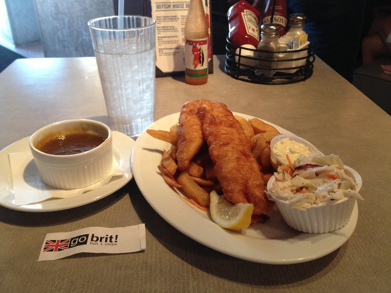 Fish and Chips with curry sauce from Go Fish in Rehobooth Beach, DE