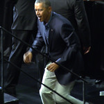 Barack Obama: President Barack Obama mounting the podium at the University at Buffalo