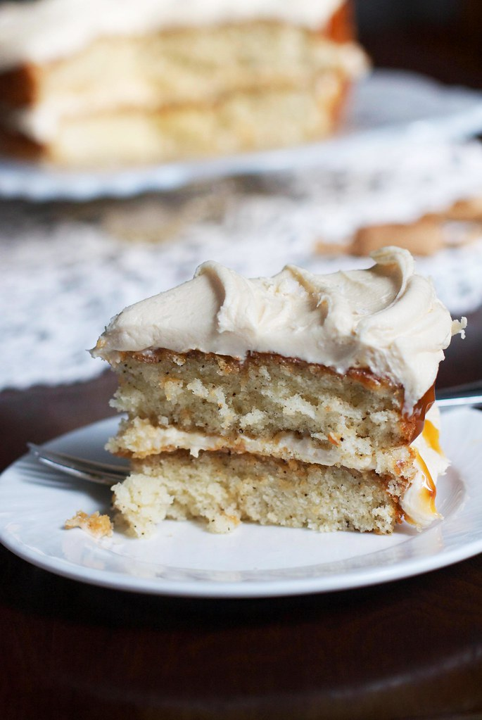 Salted Caramel Vanilla Bean Layer Cake via The Baker Chick