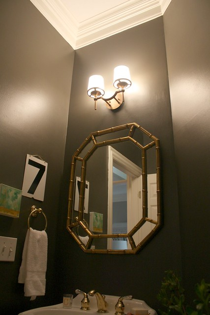 Our Powder Room Makeover From Damask To Dark Emily A Clark