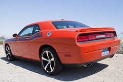 stock car racing(0.0), automobile(1.0), automotive exterior(1.0), dodge(1.0), wheel(1.0), vehicle(1.0), performance car(1.0), automotive design(1.0), dodge challenger(1.0), bumper(1.0), classic car(1.0), land vehicle(1.0), luxury vehicle(1.0), muscle car(1.0),