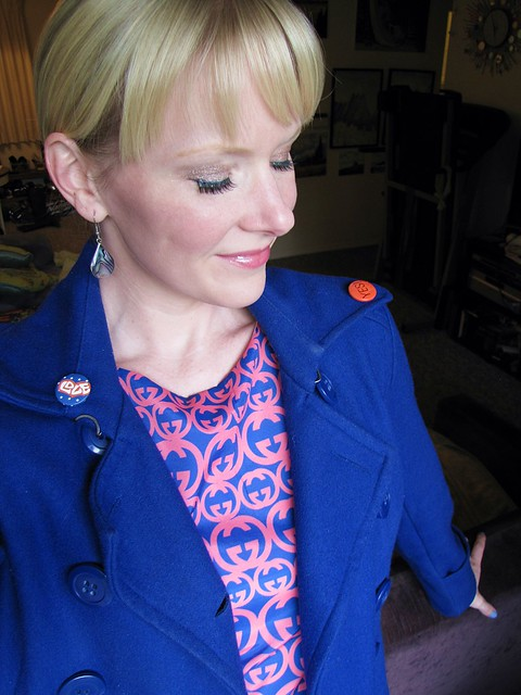 60s dress and blue coat