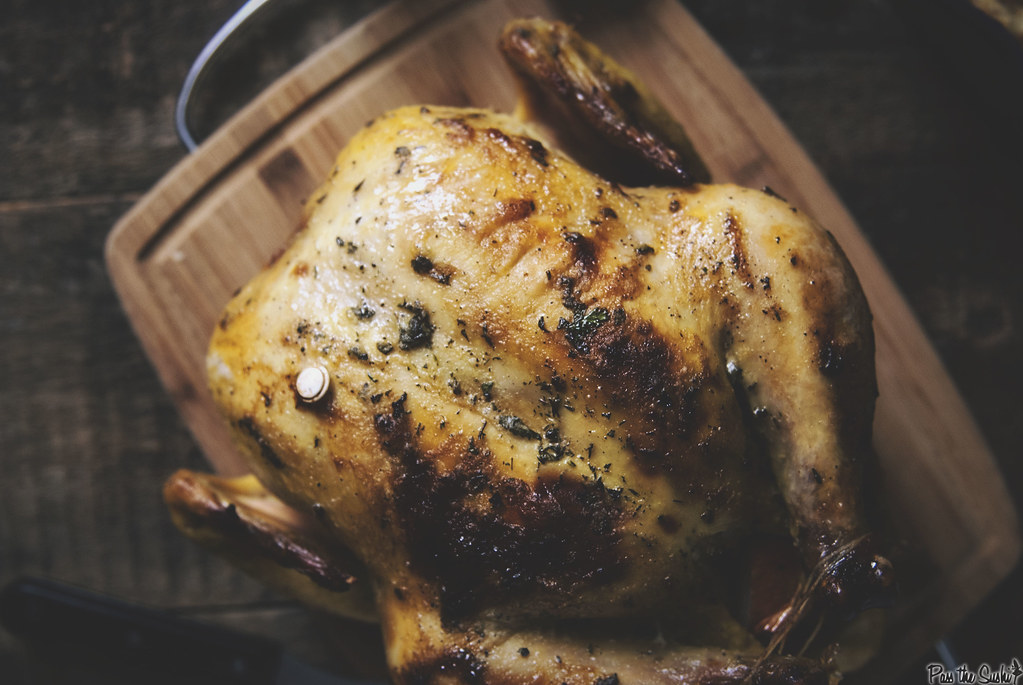 Mayo and Herb Roasted Chicken via GirlCarnivore.com