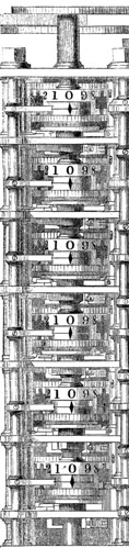 Portion of Babbage's difference engine, Harper's New Monthly Magazine 30.175 (Dec. 1864): 34.