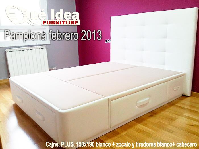 cabecero tapizado y canape de cajones tapizado color blanco instalado en Pamplona
