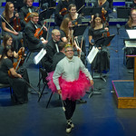 "13-049 -- At the Illinois Wesleyan Civic Orchestra Halloween Pops Concert, Conductor Steven Eggleston wore a tutu and ballet slippers for ""The Exorcism of the Sugar Plum Fairy."""