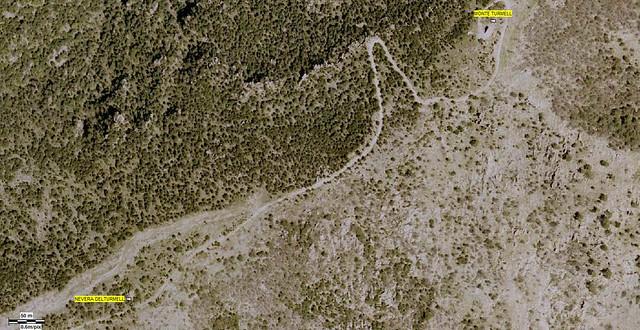 Mapa aéreo desde la nevera del trumell a la cima del monte