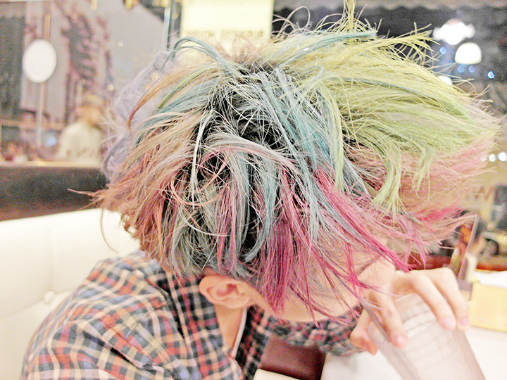 typicalben rainbow hair side top