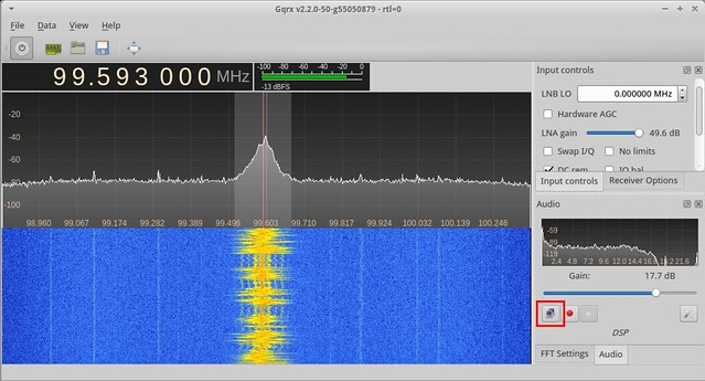 The network streaming button in gqrx.