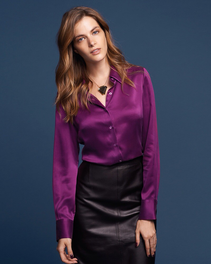 e2557ed620 Satin Blouse Leather Pencil Skirt