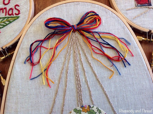 Christmas Baubles Embroidery Hoop by Rhapsody and Thread