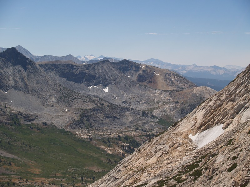 Mount Conness, Sheep Peak, Lyell Glacier and Mounts Lyell and McClure, Mount Florence, and Triple Divide Peak from from the southeast face of Matterhorn Peak