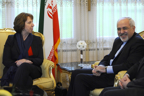 Catherine Ashton meets with Iran Foreign Minister Zarif