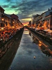 Sunset by the Navigli, Milan, Italy