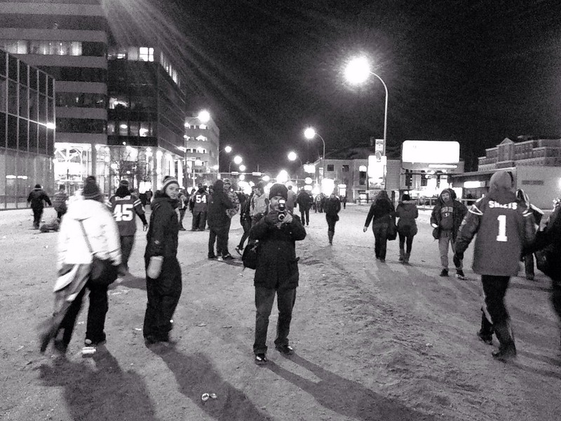 Aidan out shooting the post-Rider Grey Cup celebration in the streets of Regina