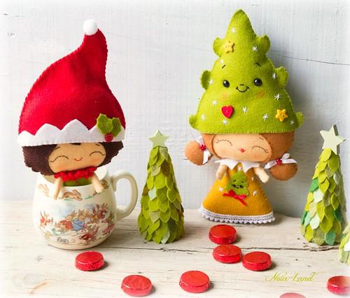 Elfos con gorros de navidad