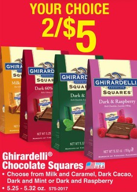 photograph regarding Ghirardelli Printable Coupon named Ghirardelli Chocolate Squares Luggage 0.50 ea at Menards 11/29