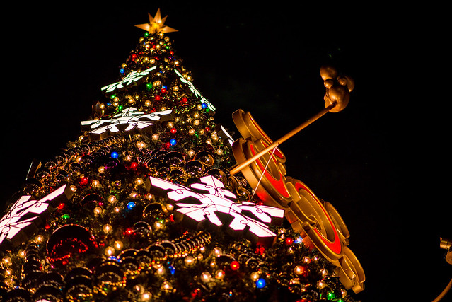 冬のディズニーはクリスマスツリーの写真を撮るのも楽しい