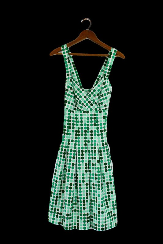 Calvin Klein green polka dot print dress