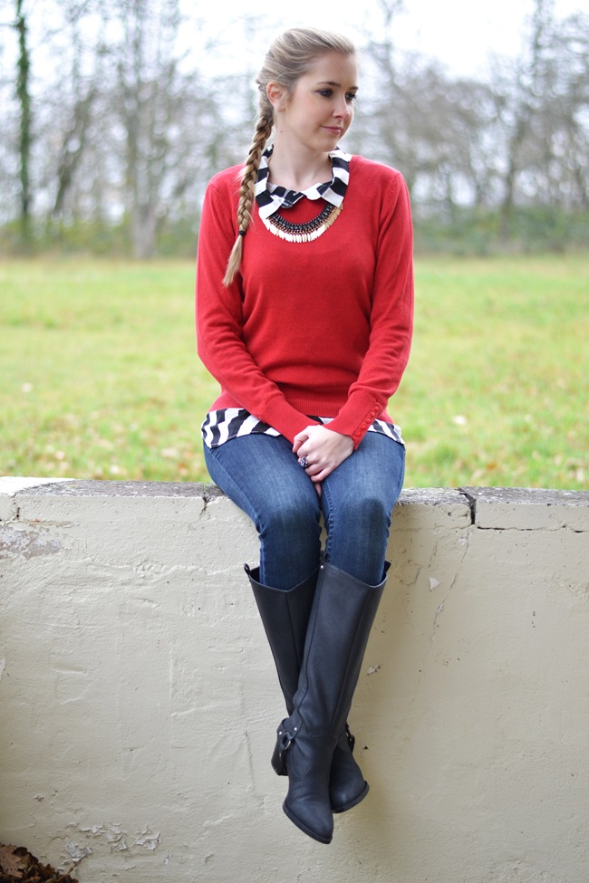 Outfit Roter Pulli + Bluse (3)