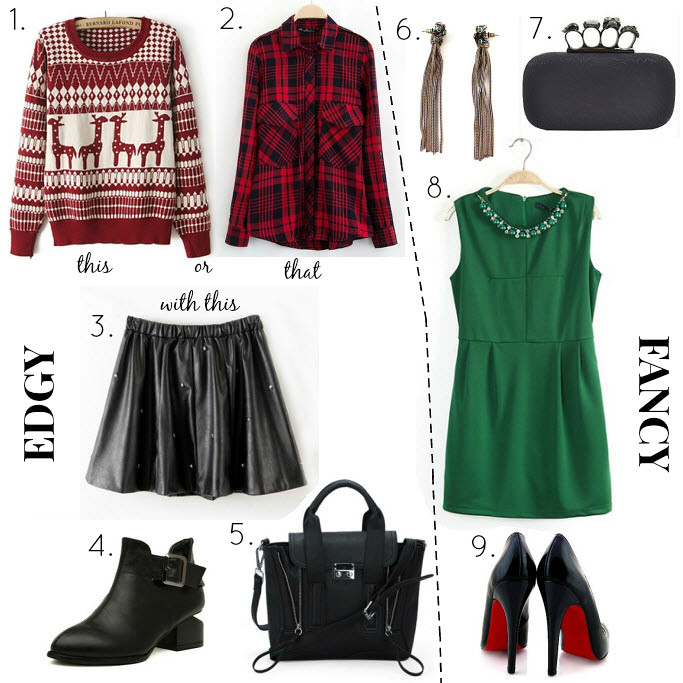 Edgy vs Fancy- 2 Christmas evening outfits including items from persunmall- a Christmas sweater with reindeers, flannel tartan plaid shirt, leather skirt with studs, high design boots with velvet, celine look a like bag edgy version, green tassel earrings, alexander mcqueen look alike clutch bag cheaper version, green dress with pearl collar detail, ysl, jimmy choo look a like shoes cheap version with red soles