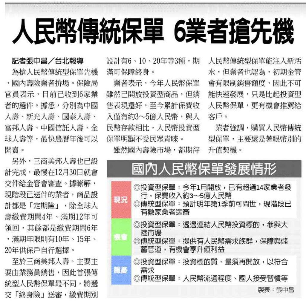 20131229[工商時報]人民幣傳統保單 6業者搶先機