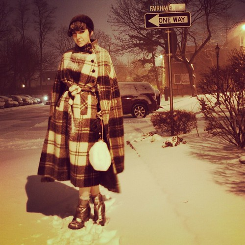 Last night. #snow; #vintage #cape, #hat, and #mink #fur accordion bag; #senso wedges.
