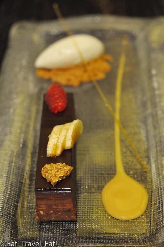 Nobu (Caesars Palace, Nobu Hotel)- Las Vegas, NV: Chocolate Crunch Cake, Sesame Crunch, Caramelized Banana, Raspberry, Caramel, Sour Cream Ice Cream