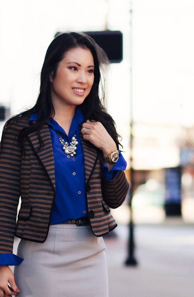 cute & little blog | striped knit blazer, cobalt blue silk shirt, j. crew gray pencil skirt, louis vuitton speedy 25, pearl cluster statement necklace outfit