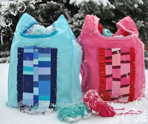 Blue and Pink Patchwork Fold'n Roll Shopping Bags