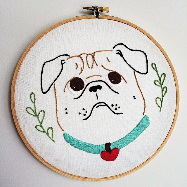 Pug crafting #embroidery #embroideryhoop #craft #pug #curlytailgang #pugstagram #pugsofinstagram