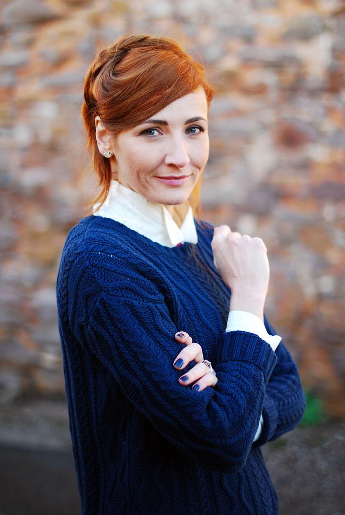 Navy sweater & white stand up collar shirt