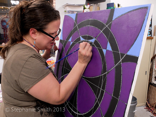 Live painting in my studio on First Friday