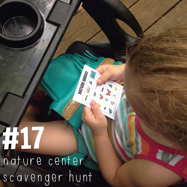 #17 on the #dicksonsummerbucketlist2014. A scavenger hunt at the Nature Center. I created a list and printed it out on a 3x4 card (so I can slip it in our #projectlife album afterwards) for us to bring on our walk. Selah brought her #flourishleatherkids p