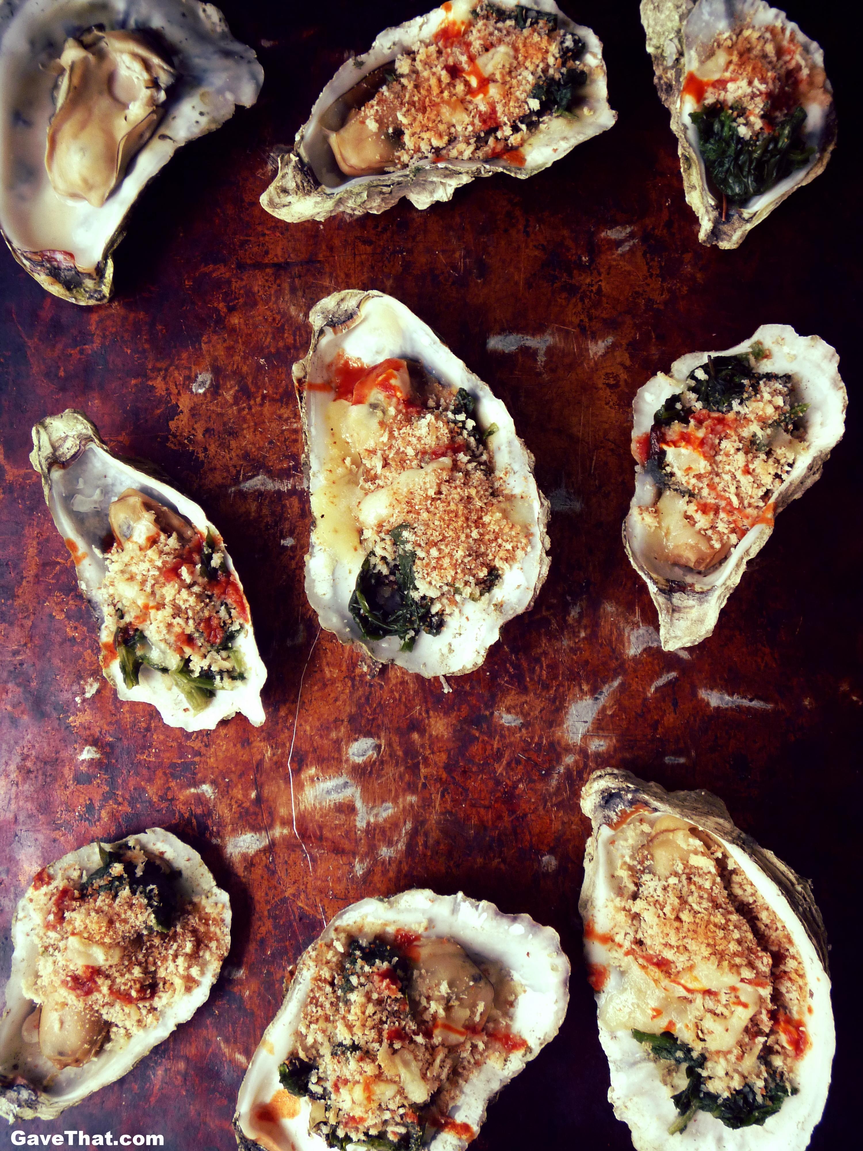A platter of Oysters Rockefeller