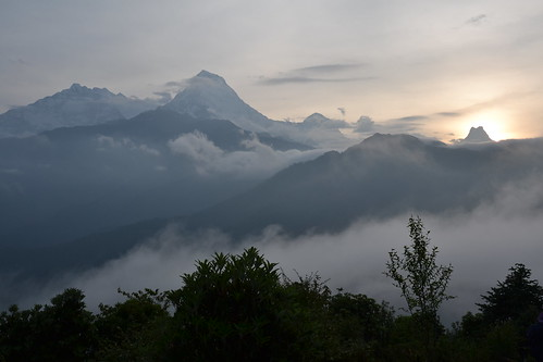 nepal sunset mountain fog sunrise nebel berge sonnenaufgang