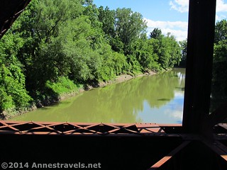 Looking upriver at the Genesee River from the train trestle on the Lehigh Valley Trail, south of Rochester, New York