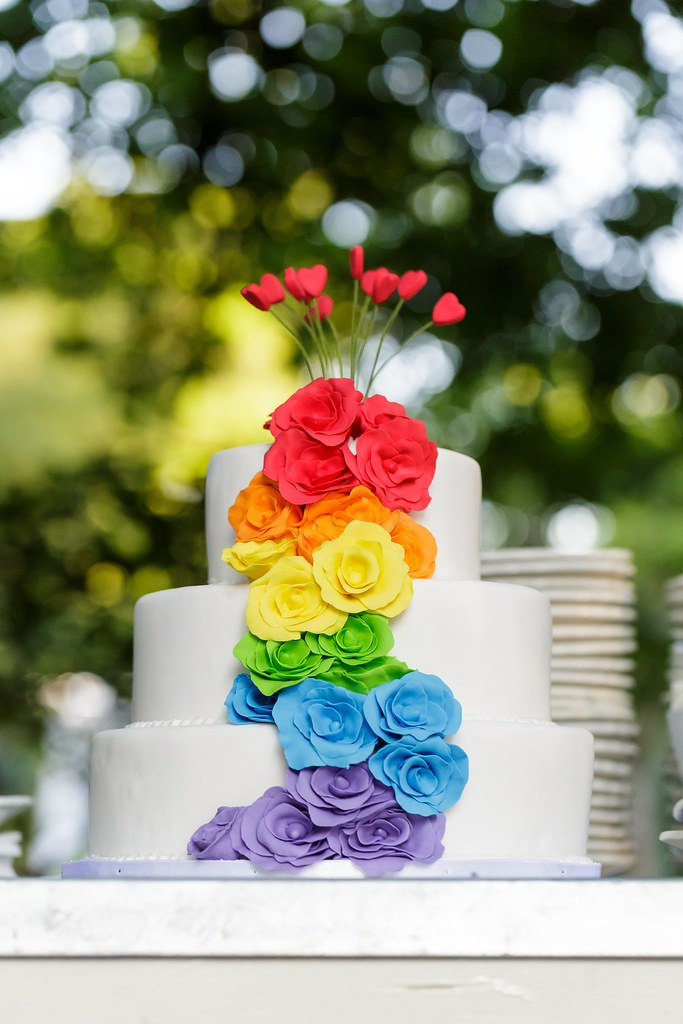 Rainbow Flower Wedding Cake