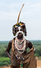 Karo tribe woman with face paint and labret piercing.