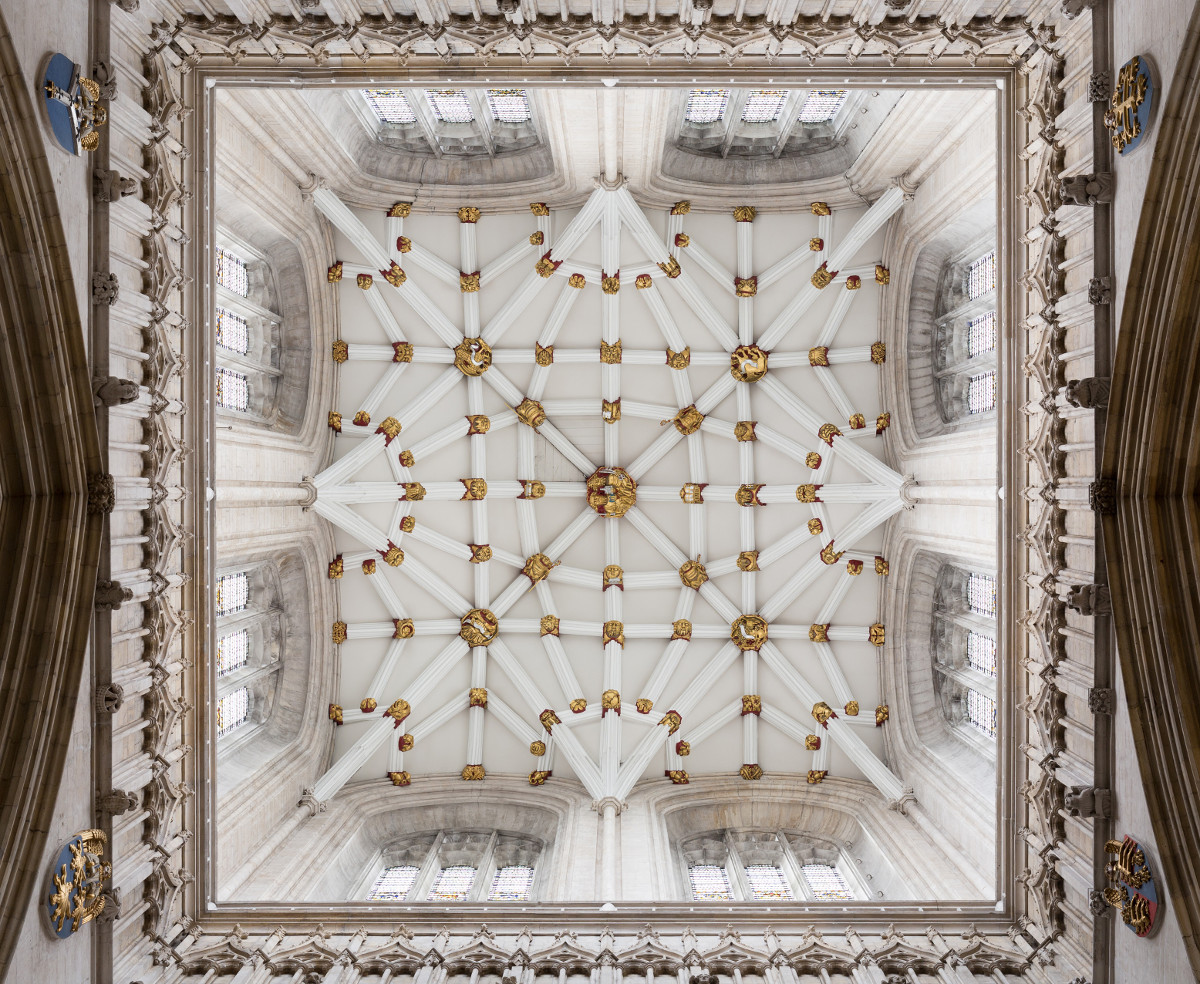 The tower ceiling of York Minster. Credit David Iliff